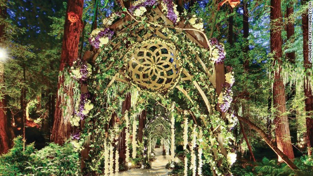 Parker and Lenas' wedding featured an elaborate Bailey-designed walkway to the ceremony.