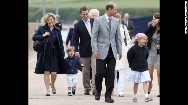 From left: Sophie, Countess of Wessex; her son, James, Viscount Severn; her nephew, Peter Phillips; her husband, Prince Edward, Earl of Wessex; her daughter, Lady Louise Windsor; and her niece Princess Eugenie disembark the Hebridean Princess in Scrabster, Scotland, in August 2010.