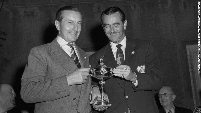 "Lloyd Mangrum, pictured with Great Britain's 1953 Ryder Cup captain Henry Cotton (left), told Palmer he would have given up his 1946 U.S. Open win and 36 PGA Tour victories ""for one Masters"" triumph."