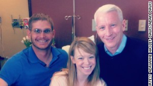 CNN\'s Anderson Cooper with Adrianne Haslet-Davis and her husband Adam Davis a week after the bombings.