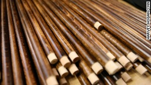Only wooden shafts -- usually chestnut, ash, walnut or cherry.