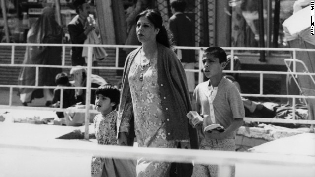 "This picture taken in 1981 shows a well-groomed woman and her children on the streets of Kabul. ""We used to be a fairly modern country,"" says Mosadiq."