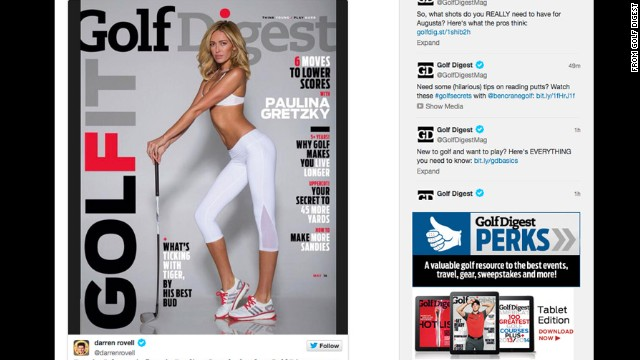 Paulina Gretzky's cover for the May issue of Golf Digest stirred controversy and left some LPGA pros feeling overlooked. The magazine explained that as the fiancee of PGA Tour pro Dustin Johnson, Gretzky is a major celebrity in the golf world and thereby qualifies the recognition of a cover story.