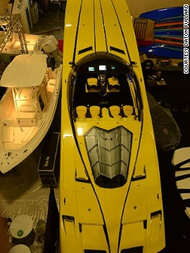"The boat was made as a ""homage"" to Gargiulo's Lamborghini car, which cost $750,000. The flashy speedboat's engine package alone cost $400,000, with enough grun"