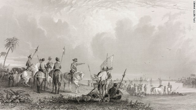 In the 16th century, Spanish conquistadors scoured the Americas in search of gold. (This engraving, made in 1853, depicts the arrival of Hernando de Soto and his men at what is now Tampa Bay in Florida.) In 1540, Francisco Vázquez de Coronado, inspired by rumors of seven cities of gold, led an expedition from Mexico into what is now New Mexico in search of Cibola. The search was fruitless, even though the Spaniards continued eastward, all the way to what is now Kansas, before giving up.