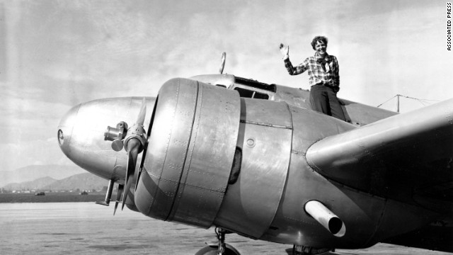 American aviatrix Amelia Earhart and navigator Frederick Noonan disappeared after their plane took off from New Guinea in 1937. They and their plane were never found, despite a great search. Some believe they ran out of fuel and crashed in the Pacific. This photo was taken before Earhart took off from Los Angeles on March 10, 1937, on a flight to Oakland, California.