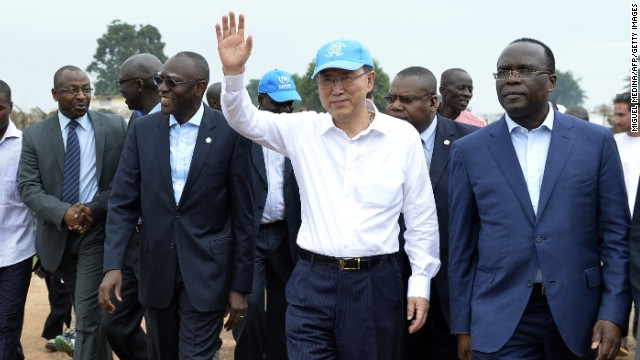 U.N. Secretary-General Ban Ki-Moon visits a camp for internally displaced persons outside Bangui on Saturday, April 5.