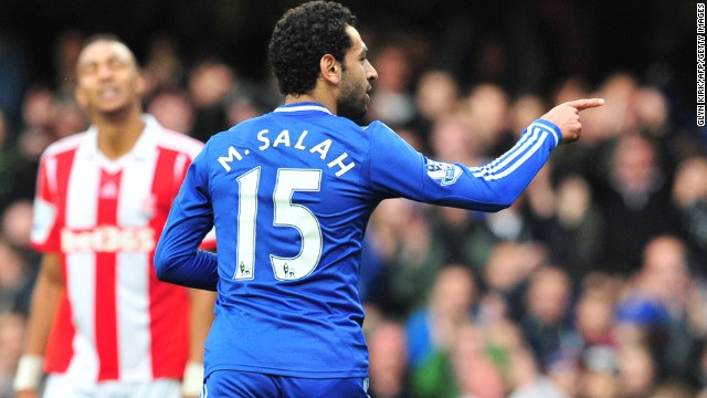 Mohamed Salah celebrates scoring Chelsea's opening goal in Saturday's 3-0 win at home to Stoke City.
