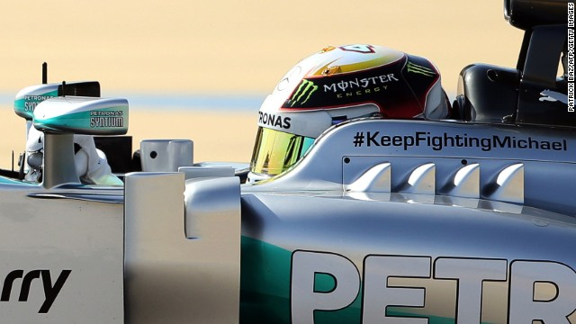 "Hamilton was one of the drivers who had a message of support for comatose F1 legend Michael Schumacher on his car, bearing the Twitter hashtag ""#KeepFighting Michael."""