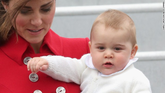 A close-up view of Prince George as he makes his first international trip.