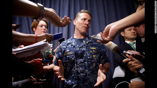 Capt. Mark Matthews of the U.S. Navy talks to reporters in Perth about the search on April 7.
