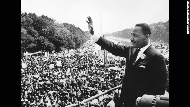 "King addresses the crowd at the Lincoln Memorial in Washington, where he delivered his famous ""I Have a Dream"" speech on August 28, 1963."