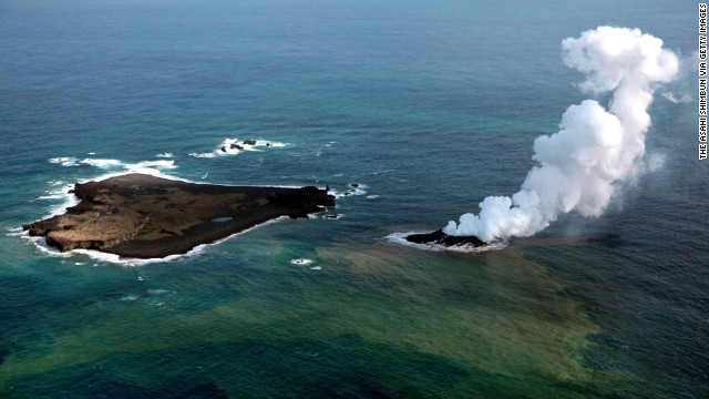 Niijima island spews jets of steam and ash near Nishinoshima island on November 21. Niijima emerged about 500 meters (550 yards) from the older Nishinoshima in November, and now they are one, according to NASA's Earth Observatory. Click through the gallery to see the change over time.