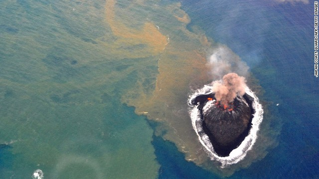 Two volcanic craters are shown on Niijima on November 22. The island emerged about 1,000 kilometers (600 miles) south of Tokyo in the Ogasawara Islands, also known as the Bonin Islands.