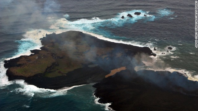 Niijima, bottom right, and Nishinoshima are seen conjoined on December 26.