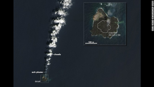 On March 30, the Operational Land Imager on the Landsat 8 satellite captured this image of the combined island. The merged island is now slightly more than six-tenths of a mile across.