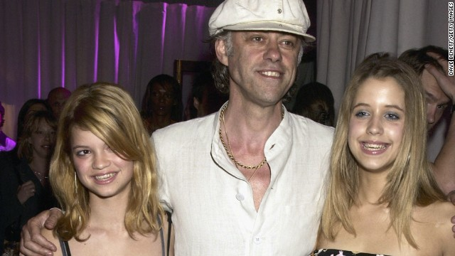 """Geldof and daughters Pixie and Peaches attend the party for the UK premiere of the film """"Charlie's Angels 2: Full Throttle"""" in 2003 in London."""