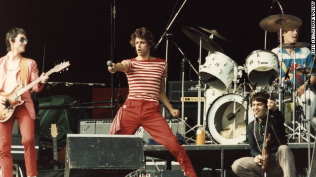 Bob Geldof as the front man of the band Boomtown Rats in 1978.