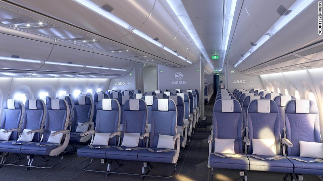 The economy cabin has a nine-abreast configuration with Airbus' 18-inch wide seats.