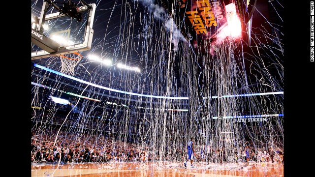 Confetti falls after the Connecticut Huskies defeated the Kentucky Wildcats.