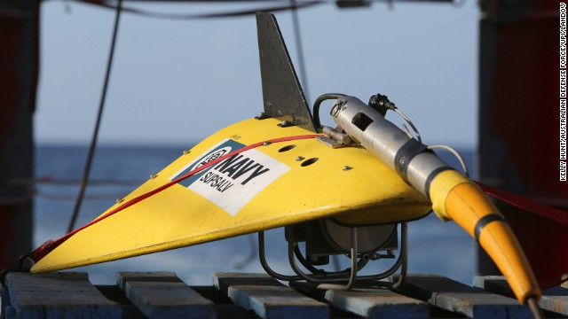 A towed pinger locator is readied to be deployed April 7 off the deck of the Australian vessel Ocean Shield.