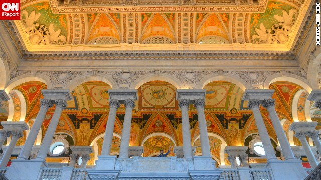 "<a href='http://ireport.cnn.com/docs/DOC-1115299'>Julee Khoo </a>says visiting the <a href='http://www.loc.gov' target='_blank'>Library of Congress</a> is a must if you're planning a trip to Washington. ""Call me biased, but I think this is one of the most impressive libraries in the world."" It's actually the largest library in the world, holding more that 158 million items that include over 36 million cataloged books and print materials in 470 languages."