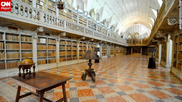 The <a href='http://www.golisbon.com/portugal/cities/mafra.html' target='_blank'>library</a> of the <a href='http://ireport.cnn.com/docs/DOC-1116265'>National Palace in Mafra</a>, Portugal, is embellished with marble and contains 35,000 volumes, which include a trilingual Bible from 1514 and the earliest edition of Homer in Greek.