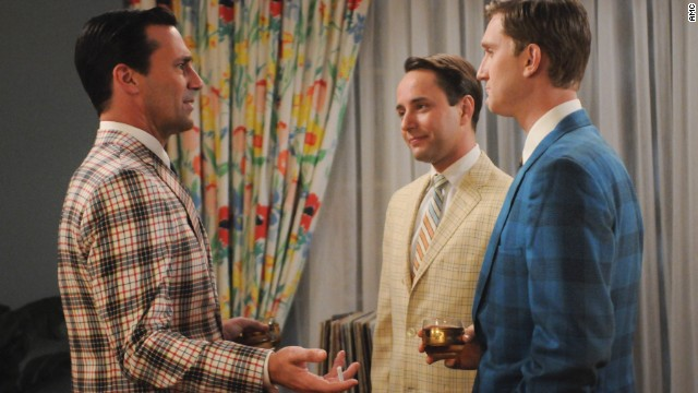 """It looks like a convention of men selling used cars,"" Przybyszewski said of the bold blazers worn in the fifth season of ""Mad Men."" Ad men would never wear these outfits to the office in 1966, but it signifies a move away from their previously slender silhouettes. ""Many a large person has been scared off from wearing plaids,"" she said. ""Plaids always look bigger."""