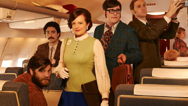 "The seventh and final season of ""Mad Men"" will debut on April 13, and it's not clear in what years it will unfold. But with wild cravats, bolero ties, daisy broaches and fringed jackets, these advertisers are suiting up like the creatives of the late '60s, Przybyszewski said. ""If you're in a creative field, you have to dress creatively,"" she said of this promotional photo. ""These guys are living it."""