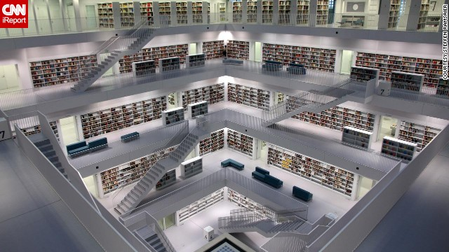 """What <a href='http://ireport.cnn.com/docs/DOC-1117545'>Steffen Ramsaier</a> loves about Stuttgart's Municipal Library in Germany is its clean architecture. The nine-story library was completed in 2011 and designed to be """"a new intellectual and cultural centre."""""""