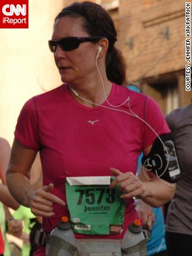 """So much blood, sweat and tears go into preparing for and racing a marathon and to have the fruit of your labor snatched away in such an evil manner haunted me,"" said <a href='http://ireport.cnn.com/docs/DOC-1095551 '>Jennifer Kirkpatrick</a>, right, from Bonham, Texas. At the time of the bombings, she had recently run her first half-marathon. She ran another half-marathon in support of the victims and plans to run the Dallas marathon this year."