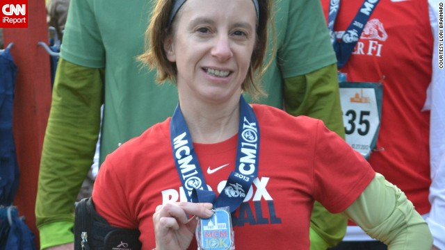 """The tight muscles -- the little aches and pains -- remind me that I'm alive,"" said <a href='http://ireport.cnn.com/docs/DOC-1063393'>Lori Brainard</a> of Washington. She started running in 2004, but had been on a hiatus. Brainard, who grew up in Somerville, Massachusetts, signed up for her first race after the Boston Marathon bombing."
