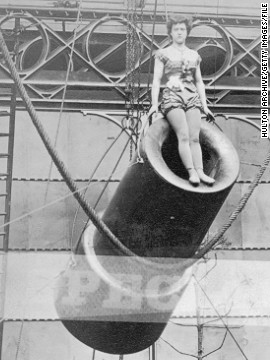 "Many believe 14-year-old acrobat, Rosa Maria Richter, billed as ""Zazel,"" was the world's first female human cannonball, pictured here at the start of her act at the Royal Aquarium in London in 1877."