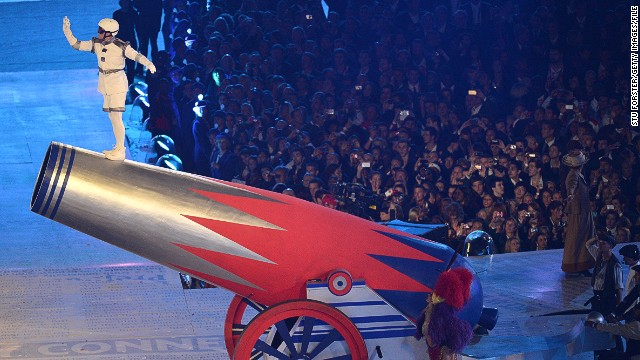 Chachi flew 55 meters at the 2012 London Olympics closing ceremony, in front of a crowd of 80,000 people, pictured here.