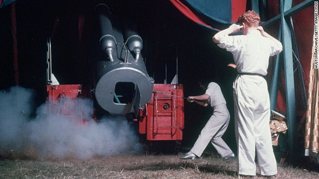 Two stage hands fire a human cannonball at a Chipperfield's Circus in the 1950s. The inner-workings of the barrel is a guarded secret by human cannonballs.
