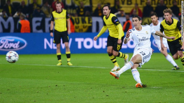 Real Madrid's Angel di Maria saw his penalty saved by Roman Weidenfeller early in the first half.