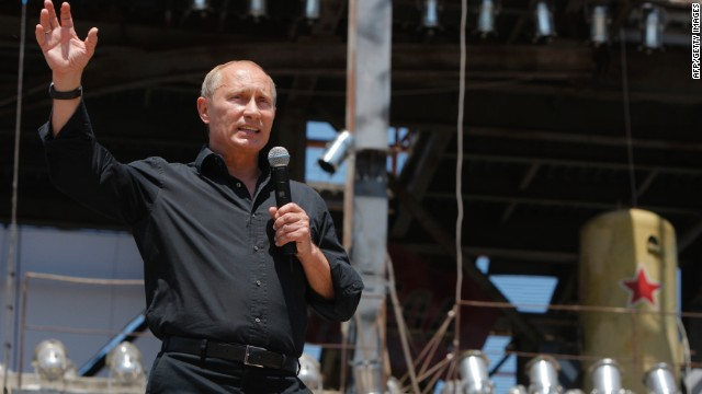 Russian Prime Minister Vladimir Putin addresses the audience as he meets with Russian and Ukrainian motorbikers near Sevastopol in the Crimea Peninsula on July 24, 2010