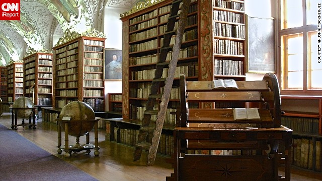 "The theological hall library at <a href='http://www.strahovskyklaster.cz/webmagazine/home.asp?idk=257' target='_blank'>Strahov Monastery</a> in Prague ""is visually stunning and in great condition,"" <a href='http://ireport.cnn.com/docs/DOC-1116515'>Anusha Mookherjee</a> said. She visited the monastery while on a family trip to the Czech Republic with her family. ""It is a historical site and has a lot of well-known books preserved,"" she said. ""You cannot touch any of the books."""