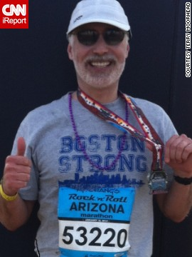 "<a href='http://ireport.cnn.com/docs/DOC-1076632'>Terry Moorhead</a> of Phoenix did not plan to run another marathon -- this was his sixth -- but after the bombings, ""I I felt compelled to do at least one more. I think about how lucky I am to be able to run, and I will never take it for granted."" He proudly wore a Boston Strong shirt for the Arizona Rock 'n' Roll Marathon in January 2014."