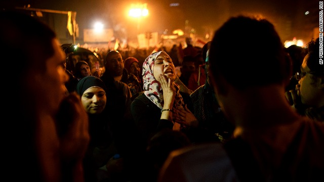 [File photo] An Egyptian woman chants slogans in Tahrir Square in Cairo, Egypt on January 25, 2013.