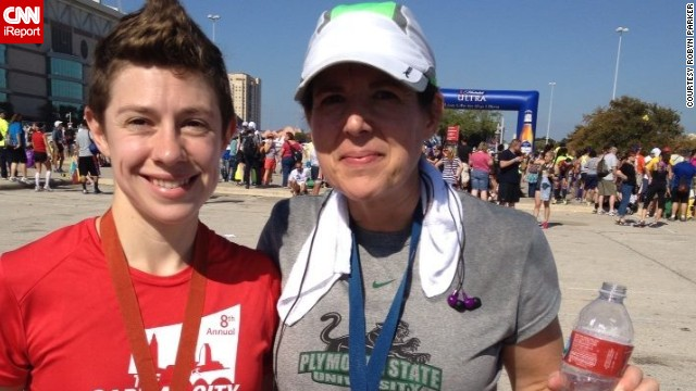 """I wanted to do something after the bombings, but didn't know what I could do,"" said runner <a href='http://ireport.cnn.com/docs/DOC-1064809'>Robyn Parker</a>, right, of New Hampshire. She was inspired to break her every-other-year marathon schedule. She ran the Rock 'n' Roll San Antonio Marathon in November alongside her daughter, Meredith."