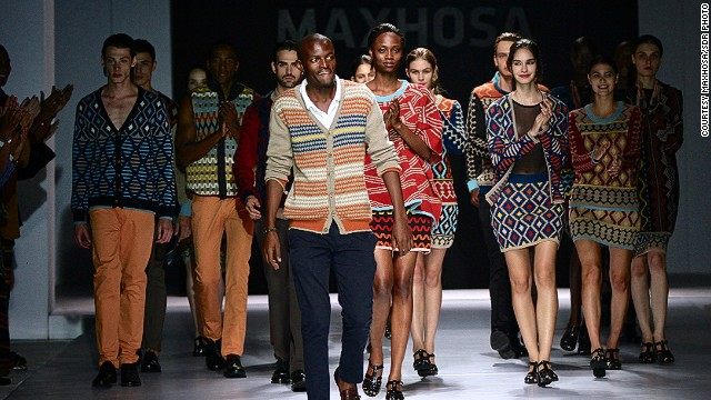 Ngxokolo (center) is a staple at international fashion weeks. He showcased his work at Labo Ethnik Fashion Week in Paris.