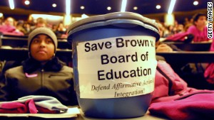 Both supporters and defenders of affirmative action cite the the high court\'s Brown v. Board of Education decision, which ended state-sponsored school segregation.