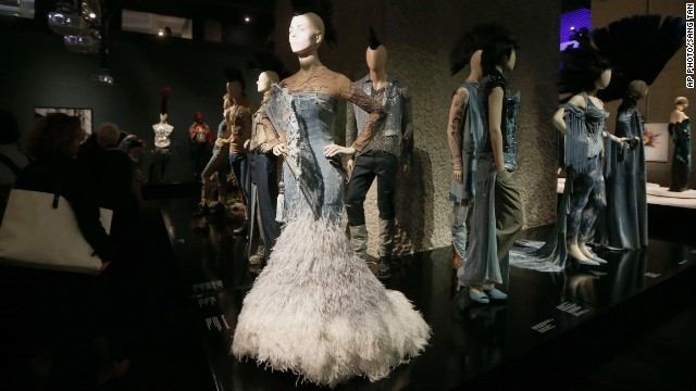 Some of the creations on display at Jean Paul Gaultier's exhibition at the Barbican Art Gallery, in London.