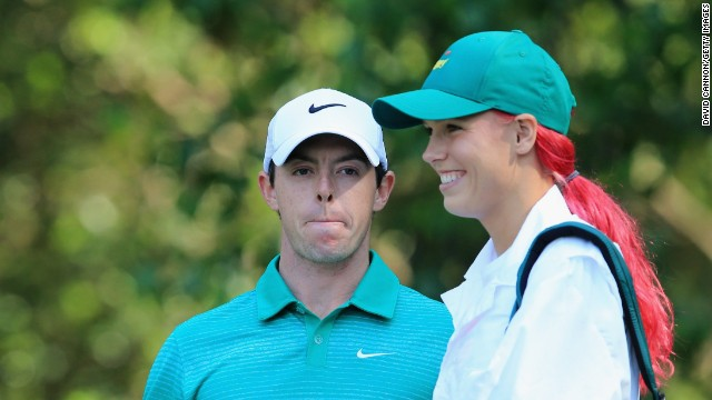 Northern Ireland's Rory McIlroy is one of the favorites to win this year's tournament. His tennis star girlfriend Caroline Wozniacki was on hand to carry his clubs at Augusta.