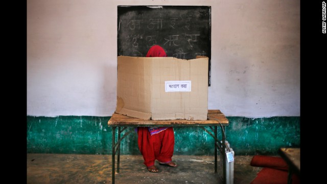 A woman casts her vote in Muzaffarnagar, India, on April 10.