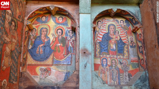 "Take a look inside Ura Kidane Mihret Monastery in Lake Tana, Ethiopia, where lively paintings of Ethiopian iconography cover the walls. ""The liturgical painting style and choice of colors was very similar to what I saw in other churches, but the colors were so vibrant here,"" <a href='http://ireport.cnn.com/docs/DOC-1095090'>Julee Khoo</a> said."