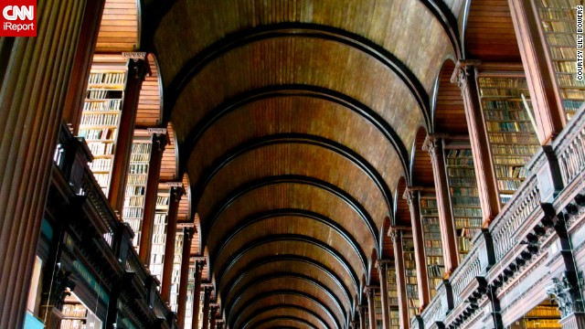 """<a href='http://ireport.cnn.com/docs/DOC-1101842'>The Trinity College Library in Dublin</a>, also known as the <a href='http://www.tcd.ie/Library/bookofkells/' target='_blank'>""""Old Library,""""</a> is famous for housing the 9th-Century gospel manuscript the Book of Kells. At the heart of the Old Library is the Long Room, which is filled with 200,000 of the library's oldest books."""