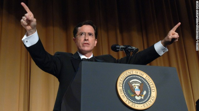Colbert earned praise -- and notoriety -- for <a href='https://www.youtube.com/watch?v=U7FTF4Oz4dI' target='_blank'>his hosting of the 2006 White House Correspondents Dinner</a>. In character, his barbs about President George W. Bush and the political news media drew blood.