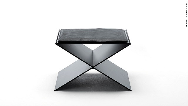 This <a href='http://www.livingdivani.it/IT/Home.aspx' target='_blank'>Living Divani</a> minimalist stool, by Spanish designer David Lopez Quincoces, combines two aluminum plates which create an X-shaped seat. Its clean, geometric lines are softened by a slim, elegant cushion.